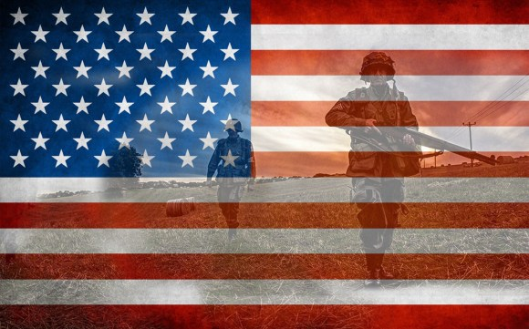 Image of the U.S. Flag superimposed over the image of soldiers marching toward the camera--a first lines friday salute to veterans and military SF& F novels