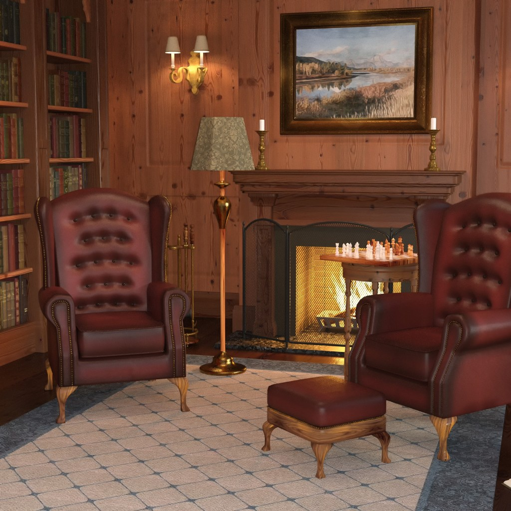 What's your reading style? Is it like this reading nook which is an old style library with bookshelves, wood paneling, and button tufted leather armchairs.