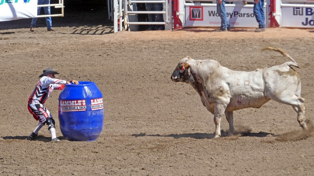 A rodeo clown with a barrel between him and a raging bull pictured here--shows the importance of the final act in story structure--the protagonist must face the antagonist