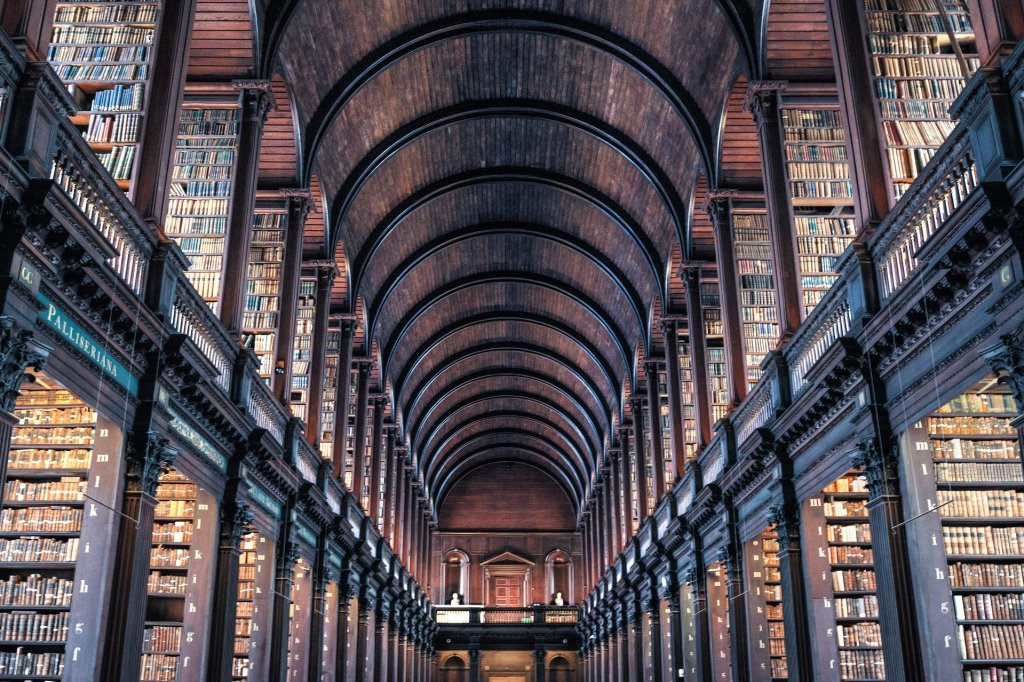 Image of stacks in Trinity College Library in Dublin is an example of books arranged by the dewey decimal system a way to make your library a subject of bookshelf envy