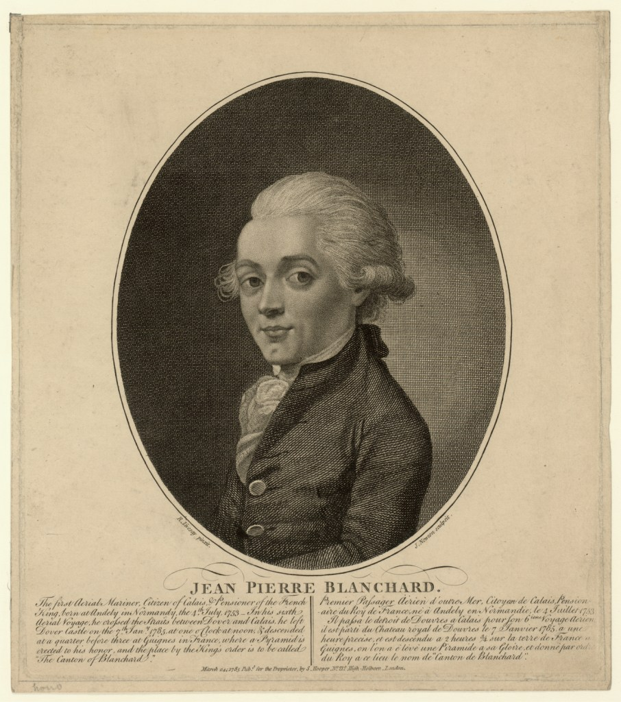 a photograph-like image of Jean Pierre Blanchard with his white hair styled in a poof and curled up at the ears, wearing a collarless coat with a scarf at his neck