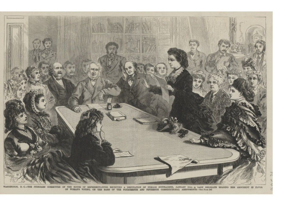 Black and white sketch of Victoria and suffragettes addressing Congress,Victoria the first female presidential candidate spent election day in jail