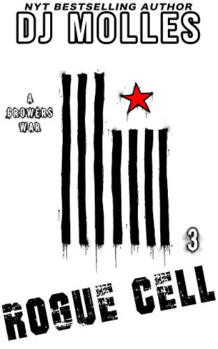 The cover of rogue cell shows a black and white flag with stripes running up and down and the stripes appear to be dripping or torn. A red star in in a field of white in the upper right corner.