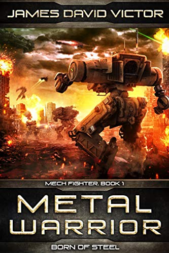 The cover of Metal warrior shows a very tall bipedal robot walking into a fiery battle scene