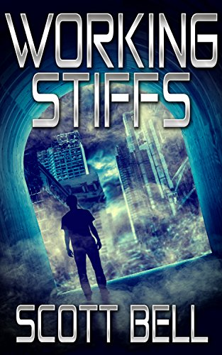 Cover of Working Stiffs Shows a man standing in a tall arched doorway looking out a city buildings through a fog