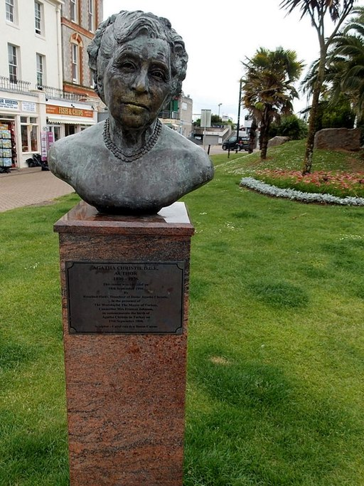 Bust of Agatha Christie on the Agatha Christie Mile in Torquay, England.
