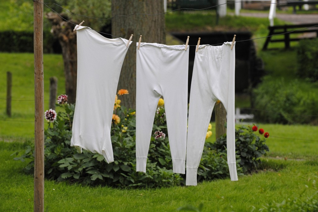 Photograph of long johns and a t-shirt hanging on a clothes line. Anna Smith Strong, Revolutionary War Spy, used her laundry to send messages