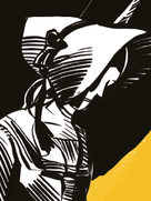 graphic representation of Eunice Newton Foote shows a female profile with a pilgrim-style bonnet covering most of her face.