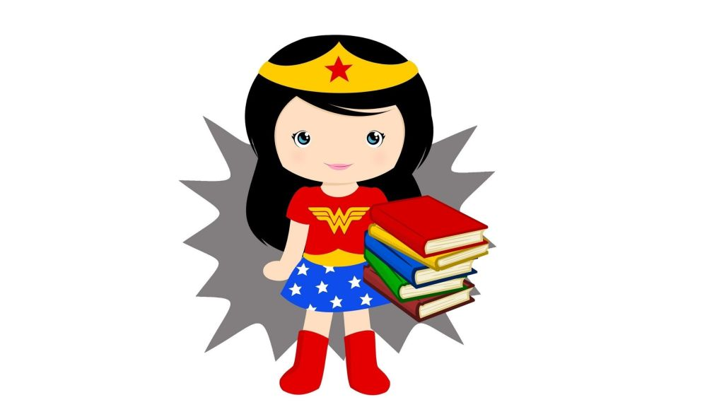Colorful cartoon image of a girl dressed as wonder woman and holding a stack of books. Score your reading super powers and see if you're wonder woman too.