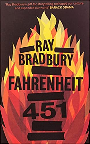 The cover of Ray Bradbury's book Fahrenheit 451 has red and yellow flames covering most of the book. It's a book that will horrify and inspire you.