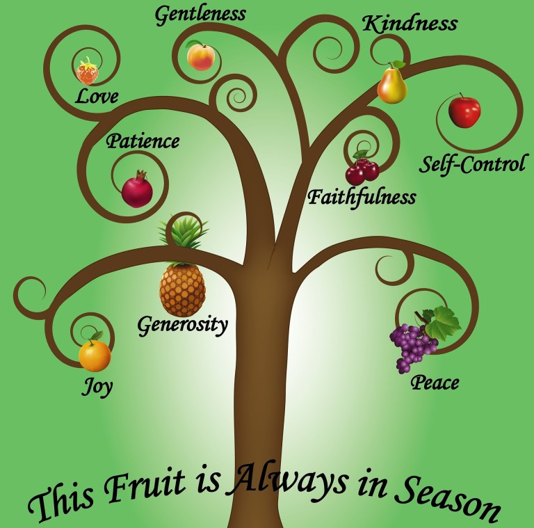 Image of a stylized brown tree with curly branches. On each branch is a fruit labeled joy, generosity, patience, love, gentleness, kindness, self-control, faithfulness, peace. Across the base of the tree is the phrase This fruit is always in season. Do you use your kind voice when you need one?