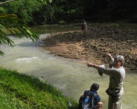 Lynette Silver with Dusun guides at the junction of the Taviu and Lolosing/Taguk rivers. Lynette is pointing (left) to the site of the large Lolosing Camp and ammunition dump.