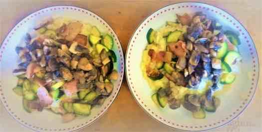 2 bowls of mushroom risotto