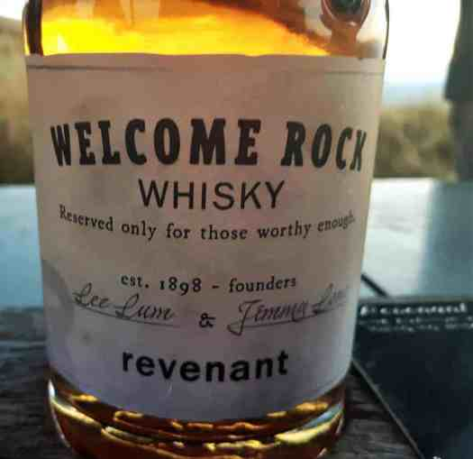 The Revenant Welcome Rock Whisky bottle close up.
