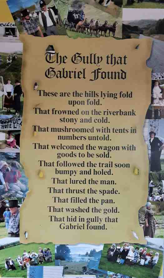 The Gabriel's Gully Poem surrounded by photos on the Garston School wall.