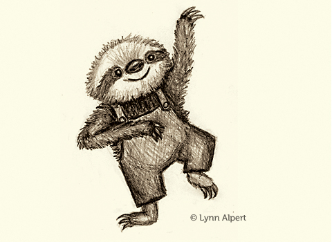 sketch of a dancing sloth by children's illustrator Lynn Alpert