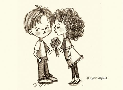 Sketch of sweetheart kiss eating bamboo by children's illustrator Lynn Alpert