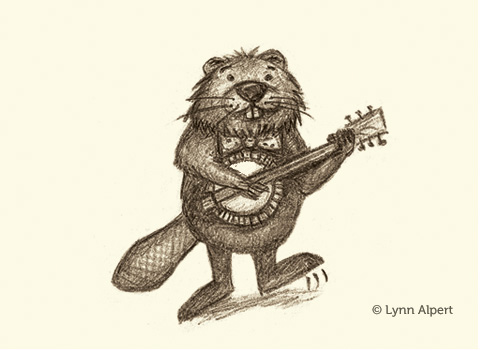 Sketch of beaver playing banjo by children's illustrator Lynn Alpert