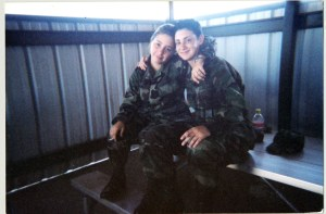 Valerie J. Desautel (right) and her friend, Danielle (Russo) Whitmer, while training at the Fire Academy in San Angelo, TX in 2000. Whitmer, who left the military in 2000, now lives with her husband and their two sons in Reading, MA. Photo courtesy of Valerie Desautel