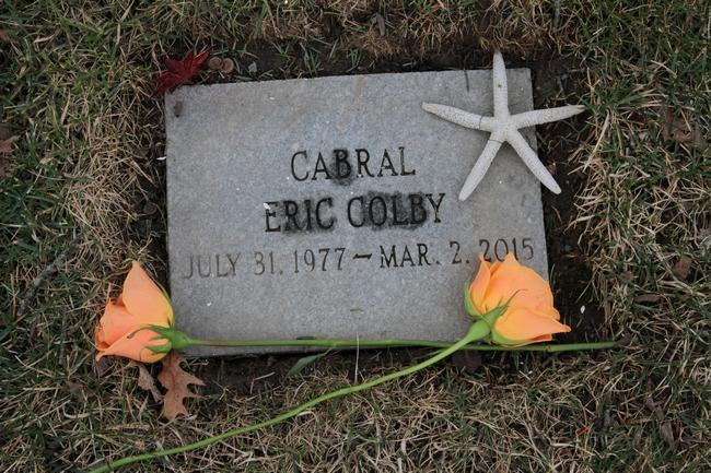 "A simple stone marks Eric Cabral's grave in Bristol. He was found dead in a Seekonk motel last March, at age 37, with the cause of death listed as ""acute fentanyl intoxication."" The Providence Journal/Sandor Bodo"