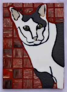 A black-and-white cat mosaic by Lynn Bridge of Glencliff Art Studio in Austin, Texas, U.S.A.