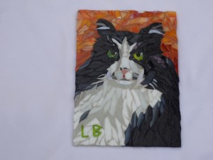cat mosaic commission by Lynn Bridge