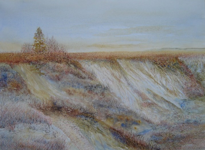 Alberta Coulee, watercolour and ink by Lynne Ayers