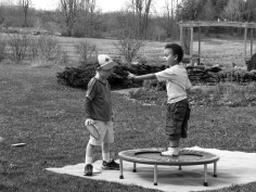 two boys and a trampoline