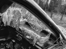 shattered car windshield black and white