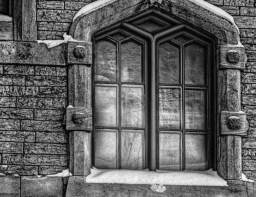black and white church window