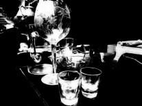 glass black and white flea market still life