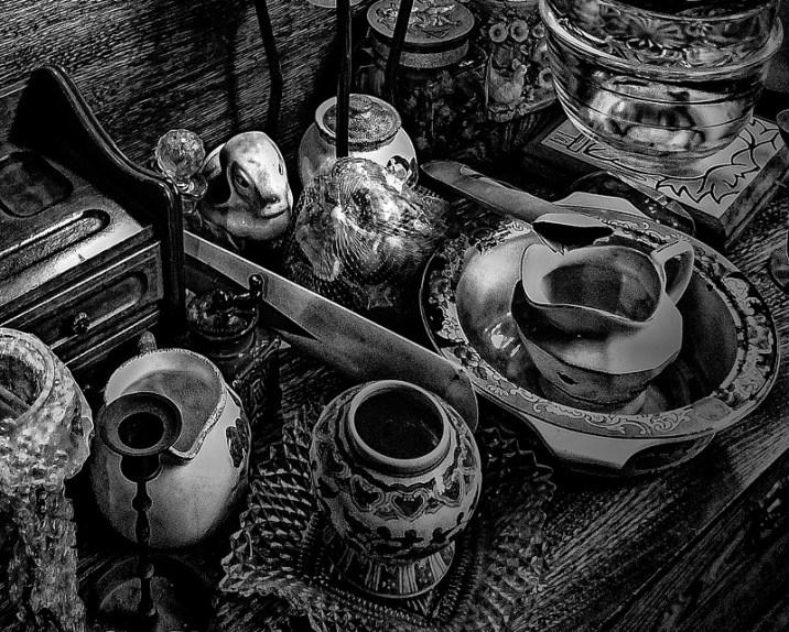 still life flea market black and white