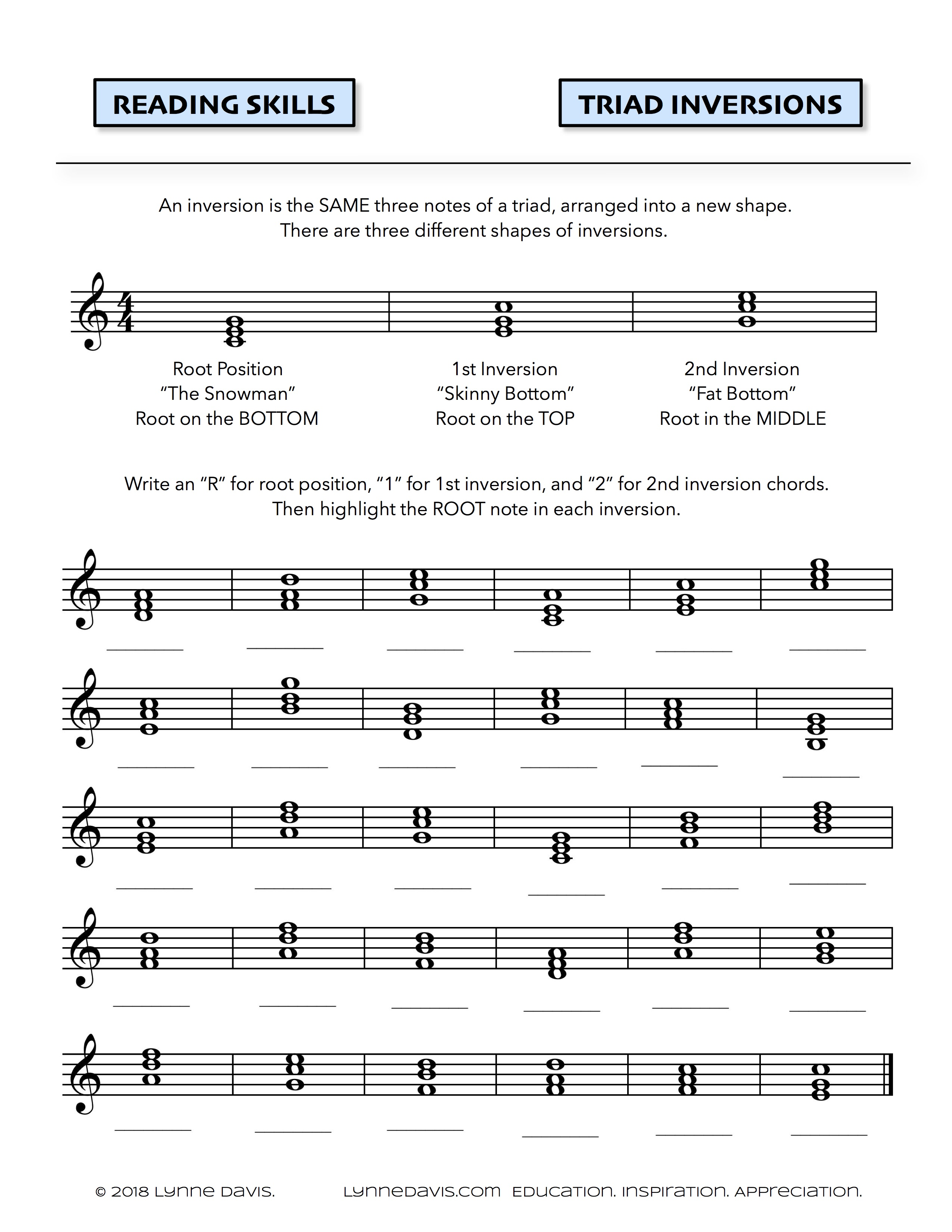 Inversions Worksheet | Lynne Davis Music