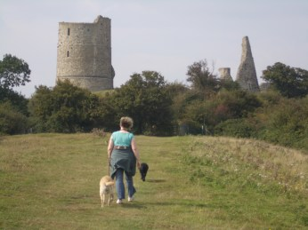 Jo, Jubilee and Jonah at Hadleigh Castle.