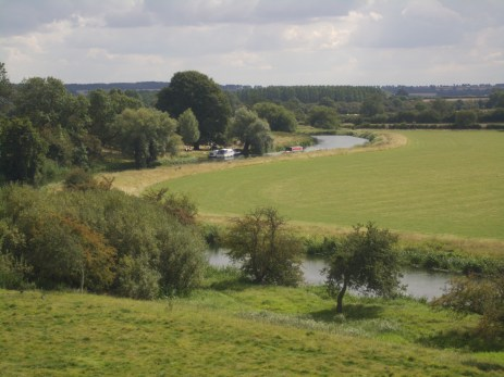 View of the River Nene from the top of the mound of Fotheringhay Castle.