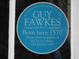 Blue plaque at Guy Fawkes' birthplace