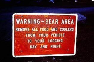 Warning - Bear Area Sign