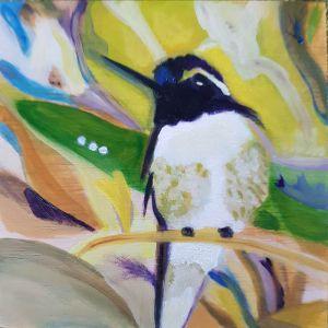 Black and White hummingbird contemporary art by Lynn Farwell