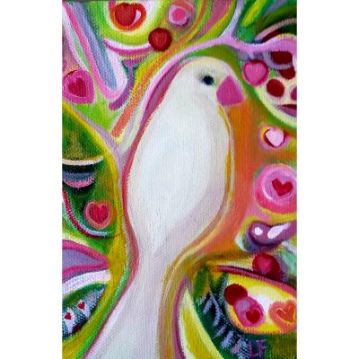 White dove and hearts contemporary art by Lynn Farwell