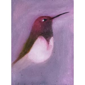 Purple hummingbird contemporary art by Lynn Farwell