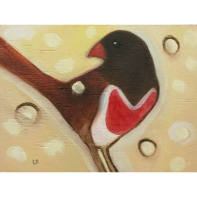 Bird with red heart chest contemporary art by Lynn Farwell
