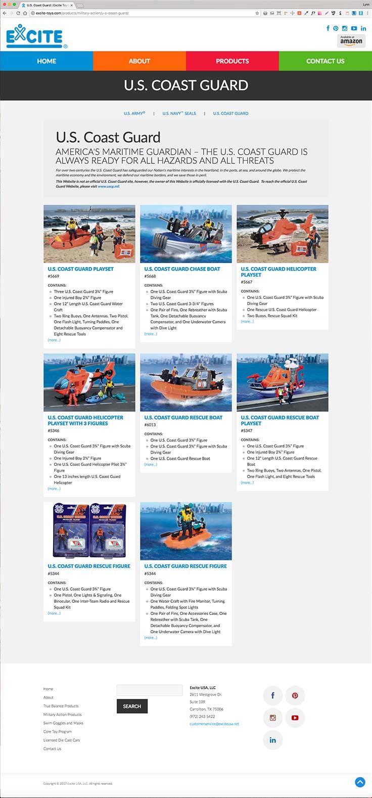 Excite-Toys website screenshots