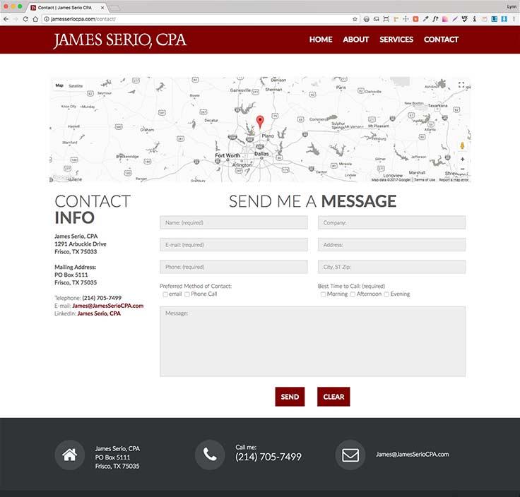 James Serio CPA website screenshot