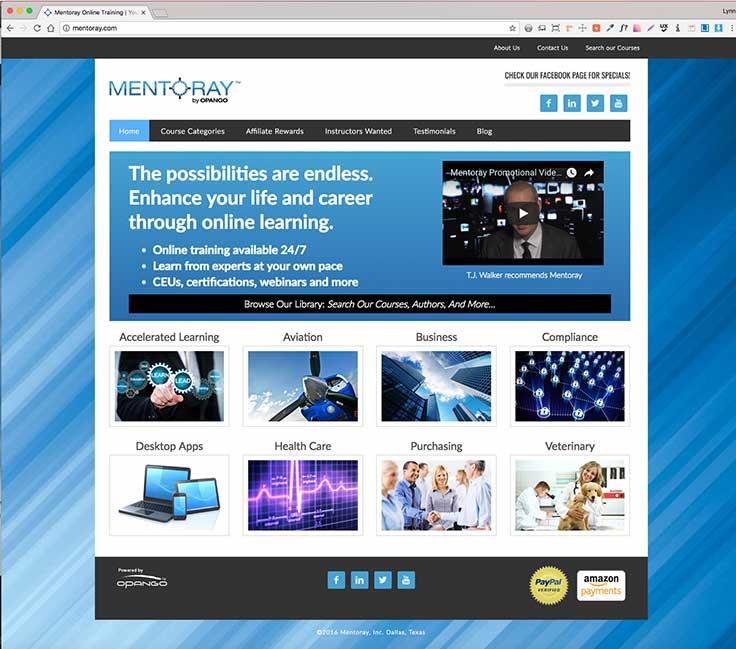 Mentoray Online Courses Website screenshot