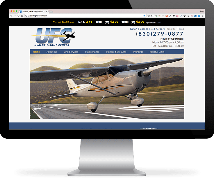 Uvalde Flight Center website screenshot