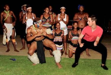 Jeff Gross showing the Zulu dancers how it's done!