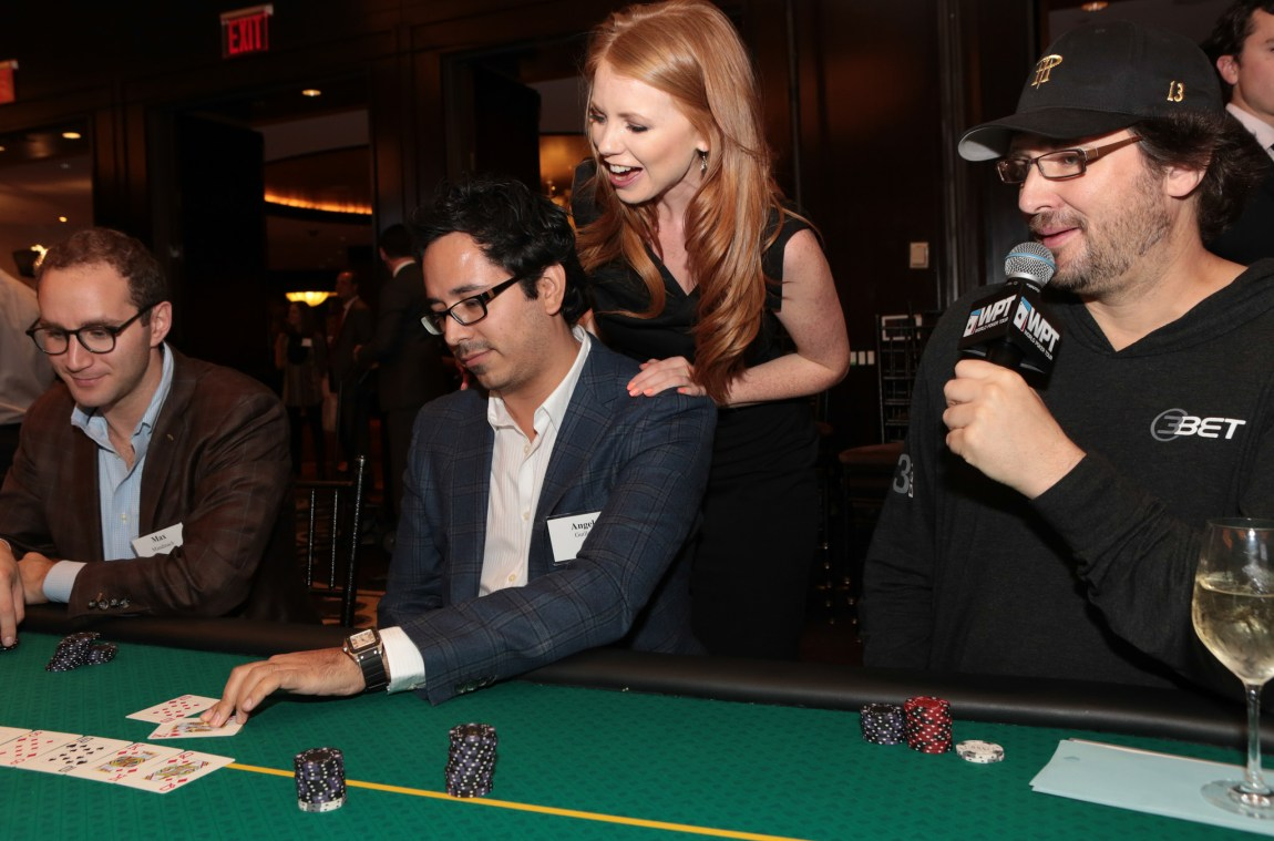 Phil Hellmuth commentating Angel Guillen's double up at the WPT Foundation's All In for Kids Poker Night.