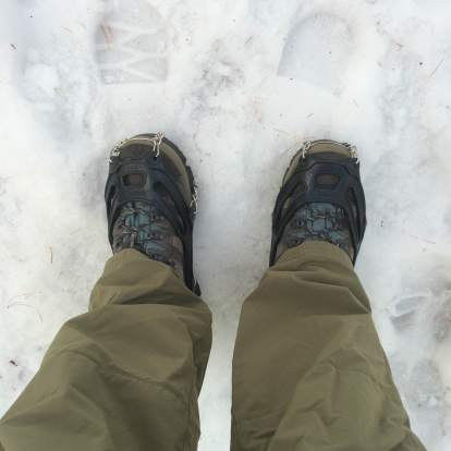 No snowshoes today - but I finally got to use my microspikes!