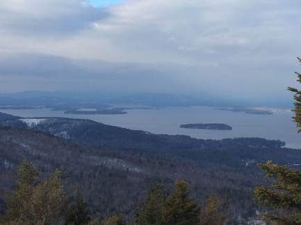 Looking toward Moultonborough - looks like it's snowing on Red Hill.