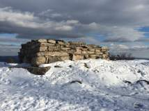 Remnants of a stone cabin atop Mt. Major.